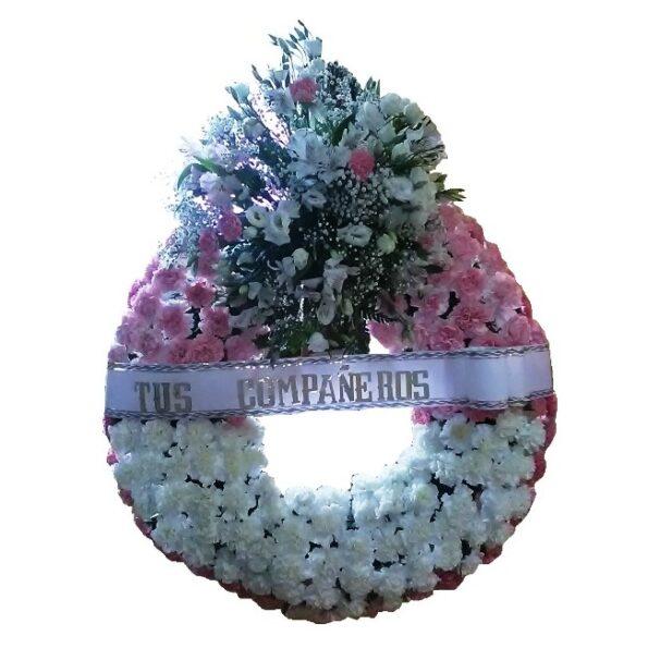 Corona en tonos blanco y rosa