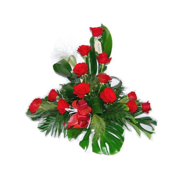centro de 13 Rosas rojas